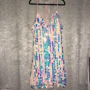 Plus Size Iridescent Pink Sequin Disk Swing Dress
